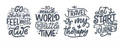 Sticker Set with travel life style inspiration quotes, hand drawn lettering posters. Motivational typography for prints. Calligraphy graphic design element. Vector illustration