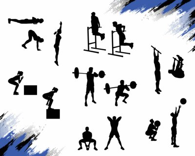 Sticker Several male silhouettes doing different crossfit exercises and working out isolated on white background. Vector illustration for web and printing.