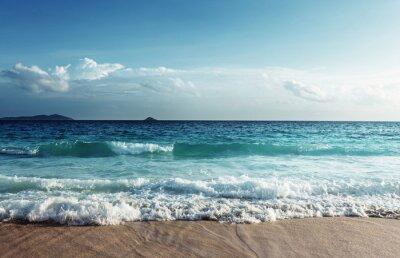 Sticker Seychellen Strand im Sonnenuntergang Zeit