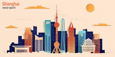 Shanghai city colorful paper cut style, vector stock illustration. Cityscape with all famous buildings. Skyline Shanghai city composition for design.