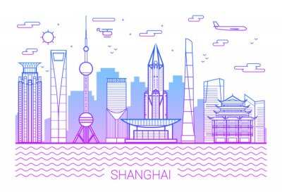 Shanghai city, Purple Line Art Vector illustration with all famous towers. Linear Banner with Showplace. Shanghai buildings set. White background and pink line.