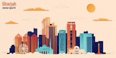 Sharjah city colorful paper cut style, vector stock illustration. Cityscape with all famous buildings. Skyline Sharjah city composition for design.