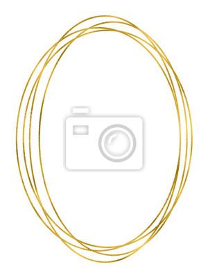 Sticker Shiny gold oval linear frame