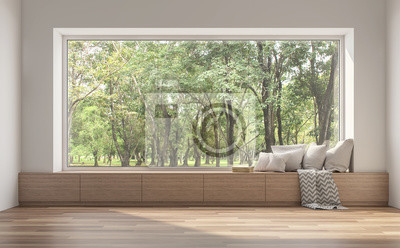 Sticker Side window seat 3d render.There are white room,wood seat,decorate with many pillow.There are big  windows look out to see nature view.