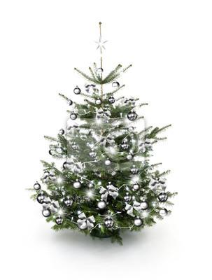 Weihnachtsbaum Silber Weiß.Sticker Silber Geschmückter Weihnachtsbaum