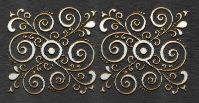 Silber Metal mit klassischem Ornament