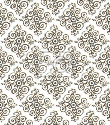 Silber Metallplatte mit klassischen Ornament mit goldenen Reflexion
