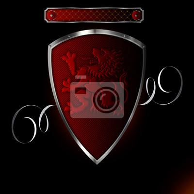 Sticker Silber red genietet Schild mit Bild von heraldischen Löwen.
