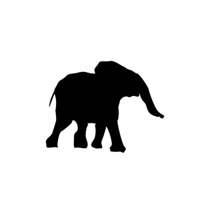 Sticker Silhouette Baby-Elefanten