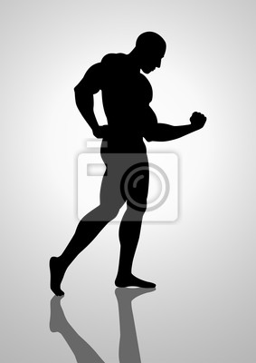 Silhouette Darstellung eines Bodybuilders
