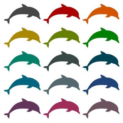 Sticker Silhouette Delfine Symbole gesetzt
