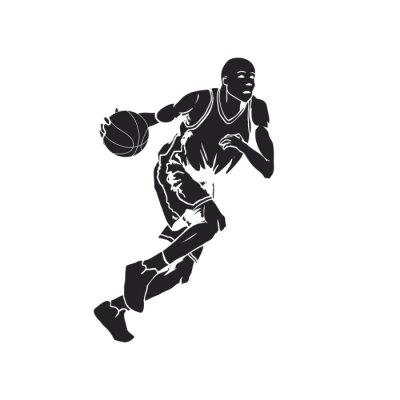 Sticker Silhouette eines Basketballspielers dribbeln den Ball