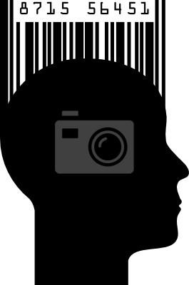 Silhouette eines Kopfes mit Barcode-, Vektor-Illustration