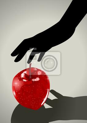 Silhouette Illustration einer Frau Hand greift einen Apfel