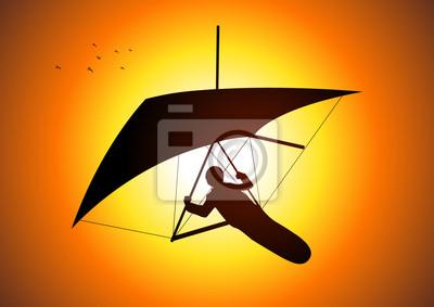 Silhouette Illustration einer Mann-Figur Segelfliegen