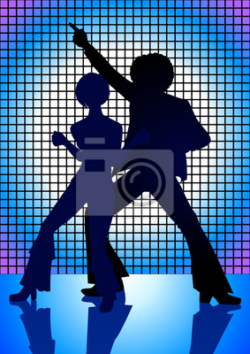 Silhouette Illustration Paar tanzt in den 70er Jahren