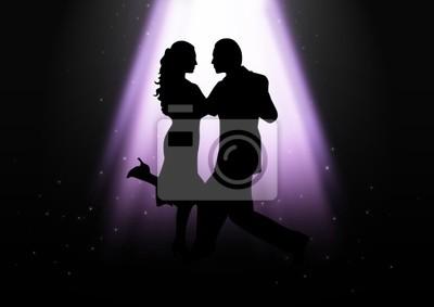 Silhouette Illustration von ein paar tanzen unter dem Licht