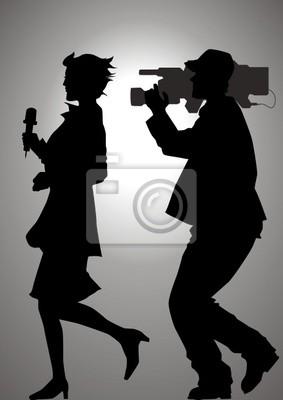 Silhouette Illustration von einem Reporter und einem Kameramann