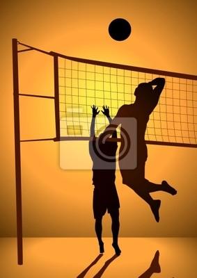 Silhouette Illustration von Menschen spielen Volleyball
