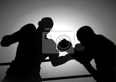 Silhouette Illustration von zwei Menschen sind Boxen