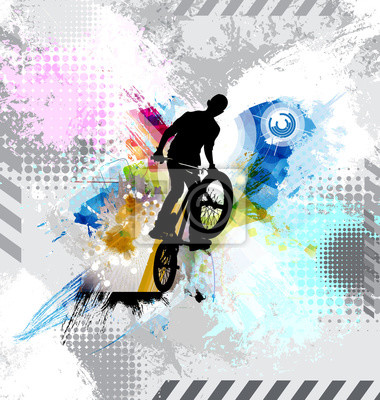 Silhouette of a bicycle rider.