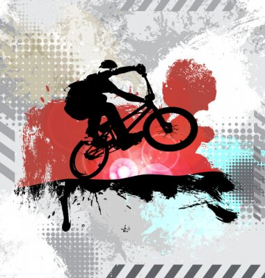 Sticker Silhouette of a bicycle rider, vector