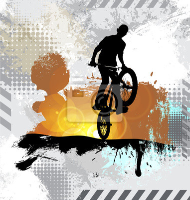 Silhouette of a bicycle rider, vector