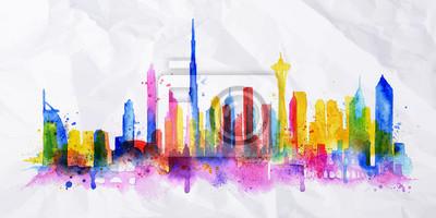 Silhouette overlay city Dubai