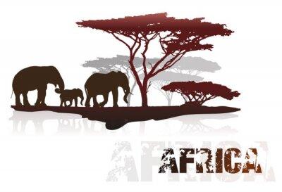 Sticker Silhouette von Afrika Bäume und Elefanten