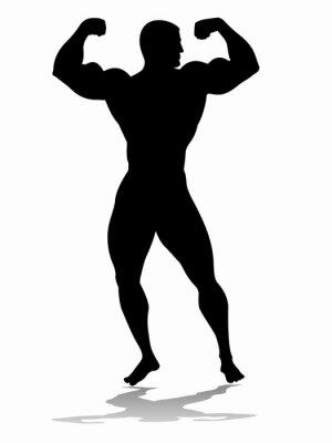 Sticker Silhouette von Bodybuilder, Vektor-Zeichen