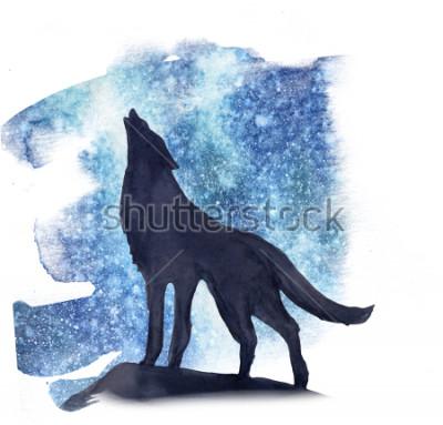 Sticker Silhouette Wolf auf dem Hintergrund der Nordlichter Aquarell. Nordlicht