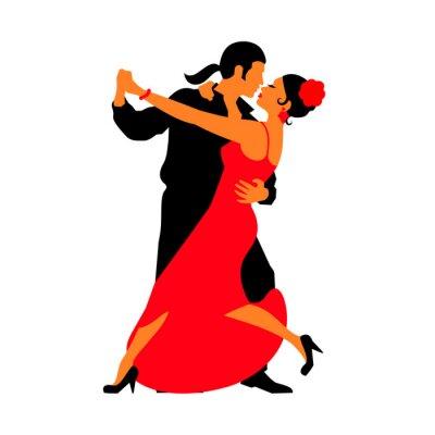 Sticker Silhouetten der Paare tanzen Standardtänzen. Tango