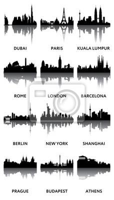 Silhouetten der Stadt Panoramen