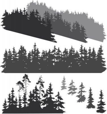 Sticker Silhouetten des Waldes