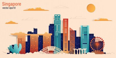 Singapore city colorful paper cut style, vector stock illustration. Cityscape with all famous buildings. Skyline Singapore city composition for design.