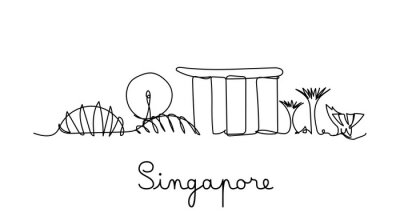 Singapore city skyline in one line style