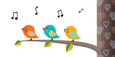 Sticker Singing Birds on a branch.