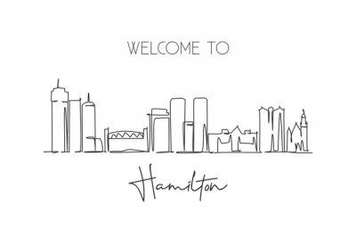 Single continuous line drawing Hamilton skyline, Canada. Famous city scraper landscape. World travel destination postcard print concept. Editable stroke modern one line draw design vector illustration