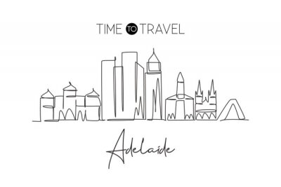 Single continuous line drawing of Adelaide city skyline Australia. Famous city scraper landscape. World travel concept home wall decor poster print art. Modern one line draw design vector illustration