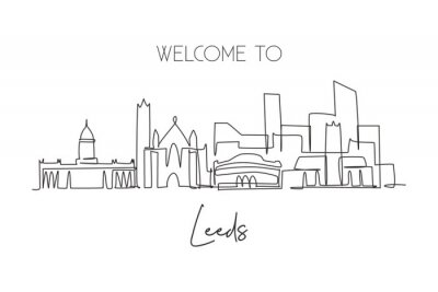 Single continuous line drawing of Leeds city skyline. Famous city skyscraper landscape. World travel campaign home decor wall art poster print concept. Modern one line draw design vector illustration