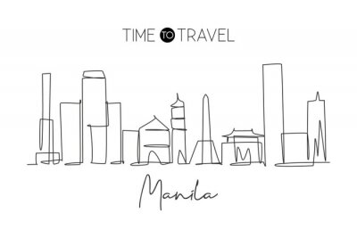 Single continuous line drawing of Manila city skyline Philippines. Famous city scraper landscape. World travel concept home art wall decor poster print. Modern one line draw design vector illustration