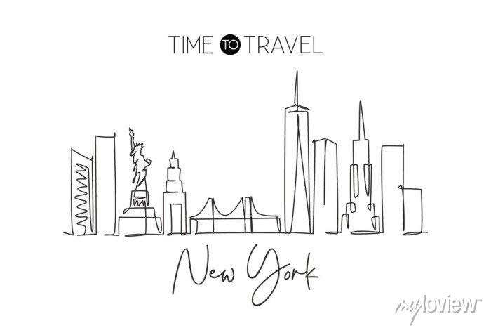 Sticker Single continuous line drawing of New York city skyline, USA. Famous city scraper and landscape. World travel concept home wall decor poster print art. Modern one line draw design vector illustration