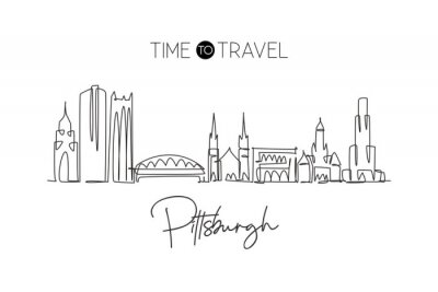 Single continuous line drawing of Pittsburgh city skyline, Pennsylvania. Famous city landscape. World travel concept home wall decor print poster art. Modern one line draw design vector illustration