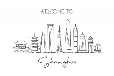 Single continuous line drawing of Shanghai city skyline China. Famous city scraper and landscape home wall decor art poster print. World travel concept. Modern one line draw design vector illustration
