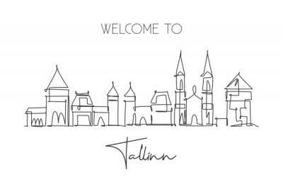 Single continuous line drawing of Tallinn city skyline, Estonia. Famous city scraper and landscape wall decor art. World travel concept. Editable stroke modern one line draw design vector illustration