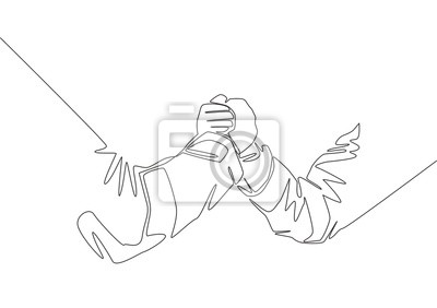 Single line drawing of businessmen handshaking his business partner. Great teamwork. Business deal concept with continuous line draw style vector illustration