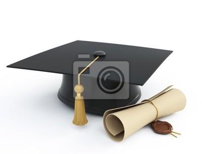 Skalenhaube Diplom auf einem weißen Hintergrund isoliert