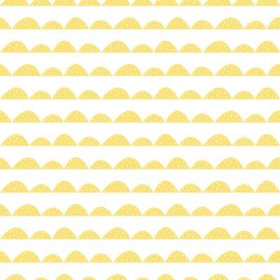 Sticker Skandinavischen nahtlose gelb Muster in Hand gezeichneten Stil. Stilisierte Hügelreihen. Wave einfache Muster für Stoff-, Textil-und Baby-Leinen.