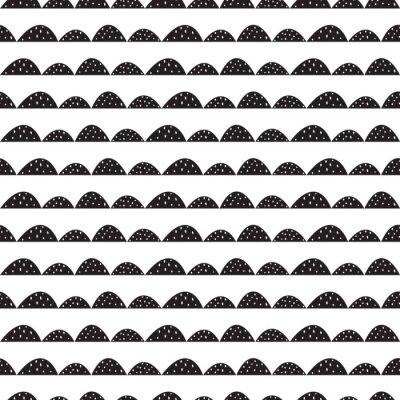 Sticker Skandinavischen nahtlose Schwarz-Weiß-Muster in Hand gezeichneten Stil. Stilisierte Hügelreihen. Wave einfache Muster für Stoff-, Textil-und Baby-Leinen.