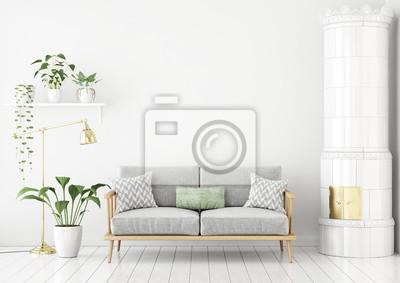 Sofa Wohnzimmer, skandinavischen stil wohnzimmer mit stoff sofa, kissen, grüne, Design ideen